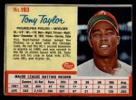 1962 Post #193  Tony Taylor   Front Thumbnail