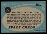 1957 Topps Space Cards #77   Mercury's Amazing Climate  Back Thumbnail