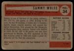 1954 Bowman #34  Sammy White  Back Thumbnail