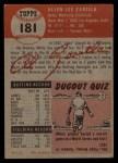 1953 Topps #181  Al Zarilla  Back Thumbnail