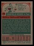 1973 Topps #99  Garfield Heard  Back Thumbnail