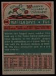 1973 Topps #229  Warren Davis  Back Thumbnail