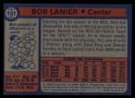 1974 Topps #131  Bob Lanier  Back Thumbnail