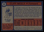 1974 Topps #36  Cliff Meely  Back Thumbnail