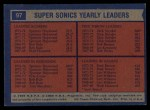 1974 Topps #97   -  Dick Snyder / Spencer Haywood / Fred Brown Supersonics Team Leaders Back Thumbnail