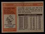 1972 Topps #24  Jacques Plante  Back Thumbnail