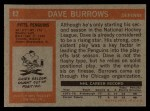 1972 Topps #82  Dave Burrows  Back Thumbnail