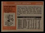 1972 Topps #111  Arnie Brown  Back Thumbnail