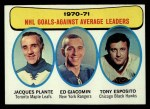 1971 Topps #6   -  Jacques Plante / Ed Giacomin / Tony Esposito Goals Against AVG Leaders Front Thumbnail