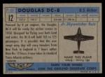 1957 Topps Planes #12 BLU  Douglas Dc-8 Back Thumbnail