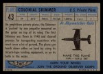 1957 Topps Planes #43 BLU  Colonial Skimmer Back Thumbnail