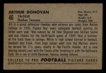 1952 Bowman Small #46  Art Donovan  Back Thumbnail