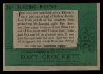 1956 Topps Davy Crockett Green Back #78   Blazing Pistols  Back Thumbnail
