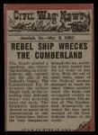 1962 Topps Civil War News #7   Death at Sea Back Thumbnail