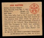 1950 Bowman #166  Joe Hatten  Back Thumbnail