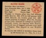 1950 Bowman #64  Al Dark  Back Thumbnail