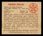 1950 Bowman #72  Howie Pollet  Back Thumbnail