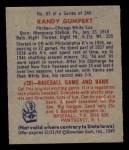 1949 Bowman #87  Randy Gumpert  Back Thumbnail