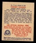 1949 Bowman #72  Tommy Holmes  Back Thumbnail