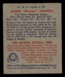 1949 Bowman #94  Mickey Vernon  Back Thumbnail