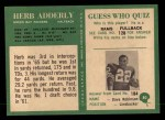 1966 Philadelphia #80  Herb Adderley  Back Thumbnail