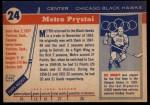 1954 Topps #24  Metro Prystai  Back Thumbnail