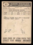 1959 Topps #93  Gern Nagler  Back Thumbnail