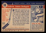 1954 Topps #11  Andy Bathgate  Back Thumbnail