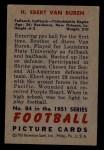 1951 Bowman #84  Ebert Van Buren  Back Thumbnail