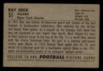 1952 Bowman Small #51  Ray Beck  Back Thumbnail