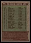 1976 Topps #606   -  Alex Grammas Brewers Team Checklist Back Thumbnail