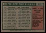 1975 Topps #46   -  Danny Ozark Phillies Team Checklist Back Thumbnail