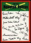 1974 Topps Red Team Checklist   Astros Team Checklist Front Thumbnail