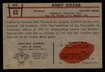 1953 Bowman #69  Andy Kozar  Back Thumbnail