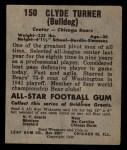 1949 Leaf #150  Bulldog Turner  Back Thumbnail