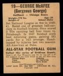 1948 Leaf #19 xGOR George McAfee  Back Thumbnail