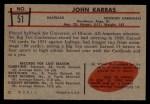 1953 Bowman #51  John Karras  Back Thumbnail