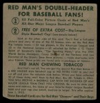 1952 Red Man #21 NL x Duke Snider  Back Thumbnail