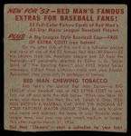 1953 Red Man #23 NL x Warren Hacker  Back Thumbnail