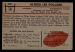 1953 Bowman #14  Alfred Pollard  Back Thumbnail