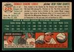 1954 Topps #225  Don Liddle  Back Thumbnail