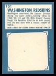 1961 Topps #131   Redskins Team Back Thumbnail