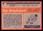 1970 Topps #210  Tom Woodeshick  Back Thumbnail