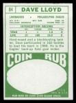 1968 Topps #84  Dave Lloyd  Back Thumbnail