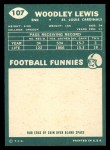 1960 Topps #107  Woodley Lewis  Back Thumbnail