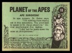 1969 Topps Planet of the Apes #18   Ape Surgeon Back Thumbnail