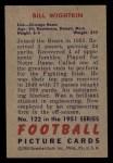 1951 Bowman #122  Bill Wightkin  Back Thumbnail