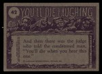 1973 Topps You'll Die Laughing #42   Look dad no cavities Back Thumbnail