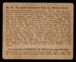1938 Gum Inc. Horrors of War #43   Loyalist Submarine Goes to Watery Grave Back Thumbnail