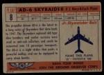 1957 Topps Planes #8 RED  Ad-6 Skyraider Back Thumbnail